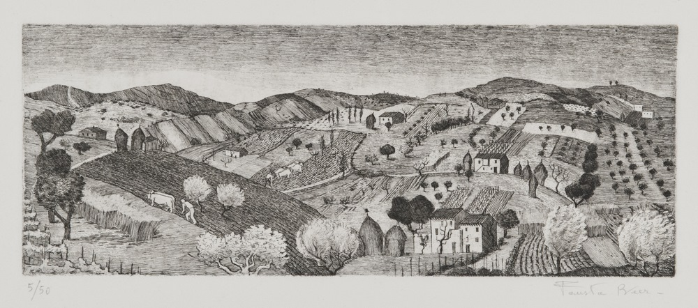Lotto 244 - EUROPEAN ARTIST, 20TH CENTURY  Hills  Engraving, ex. 5/50  Measurements of the slab, cm. 13 x 35