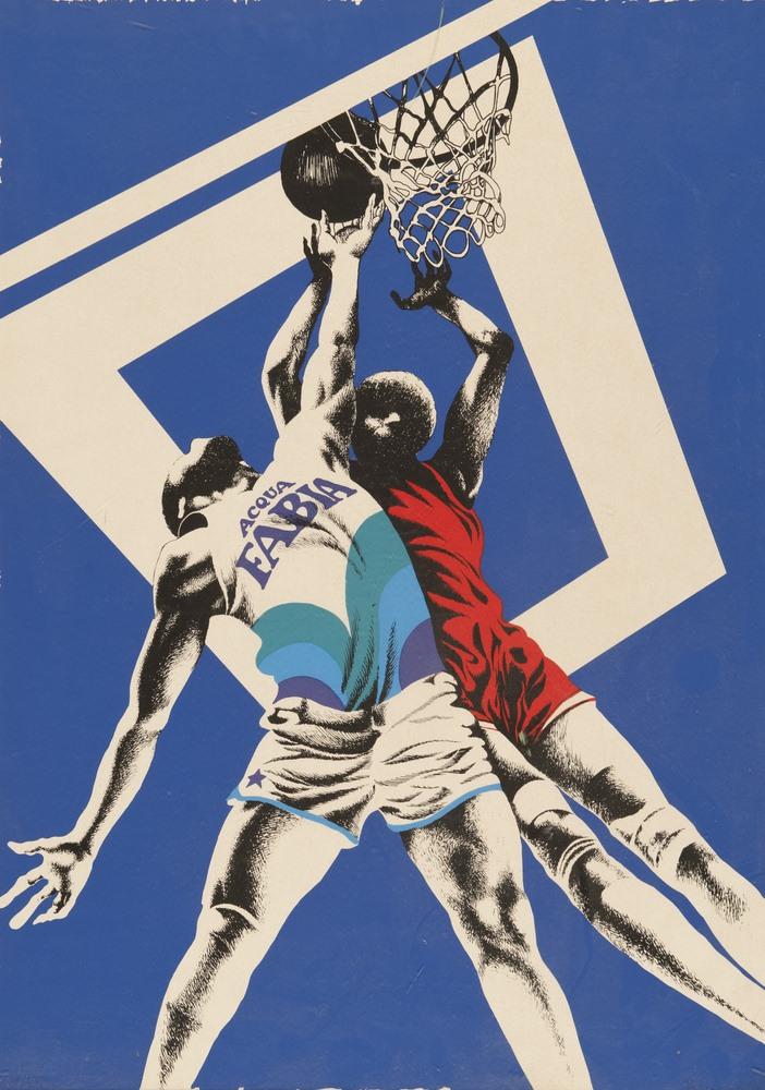 Lotto 247 - ITALIAN CONTEMPORARY PAINTER  Basketball  Lito color, ex. undeclared cm. 70 x 50  Unsigned