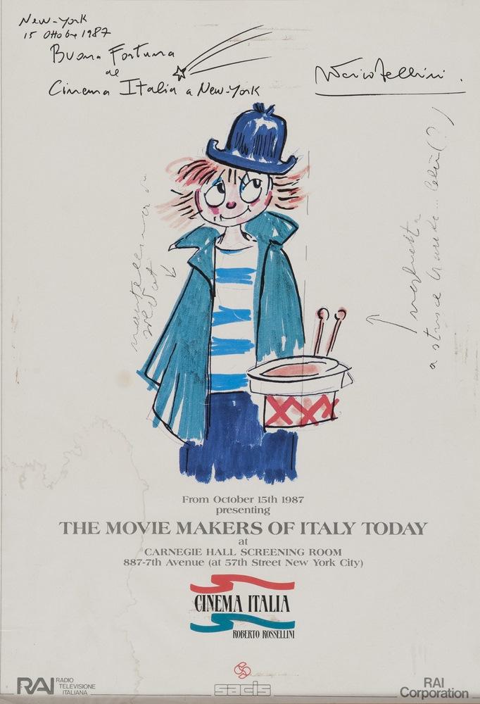 Lotto 248 - AUTOGRAPH POSTER OF FEDERICO FELLINI  Italian film in New York, depicting Giulietta Masina.