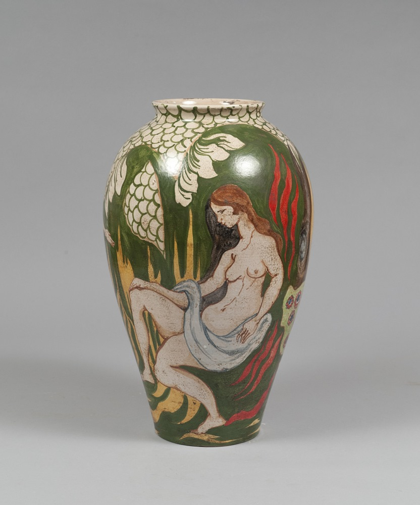 Lotto 249 - CERAMIC VASE, ITALIAN MANUFACTURE `20s in polychrome enamels, decorated with a landscape with