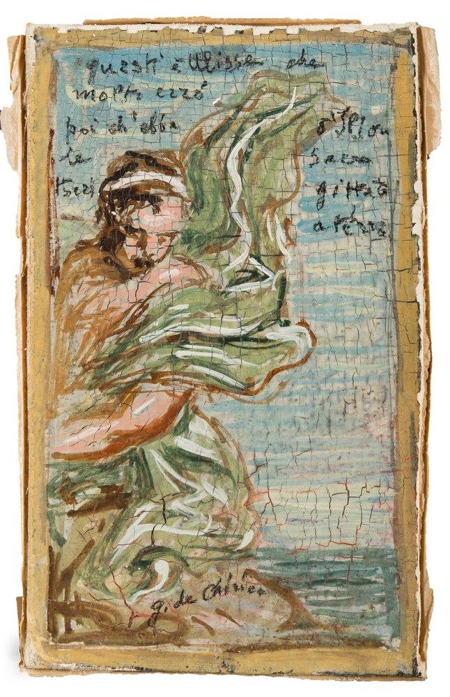 Lotto 252 - GIORGIO DE CHIRICO (Volos 1888 - Rome 1978)  Ulysses  Oil on cardboard, cm. 18 x 10.7  Signature