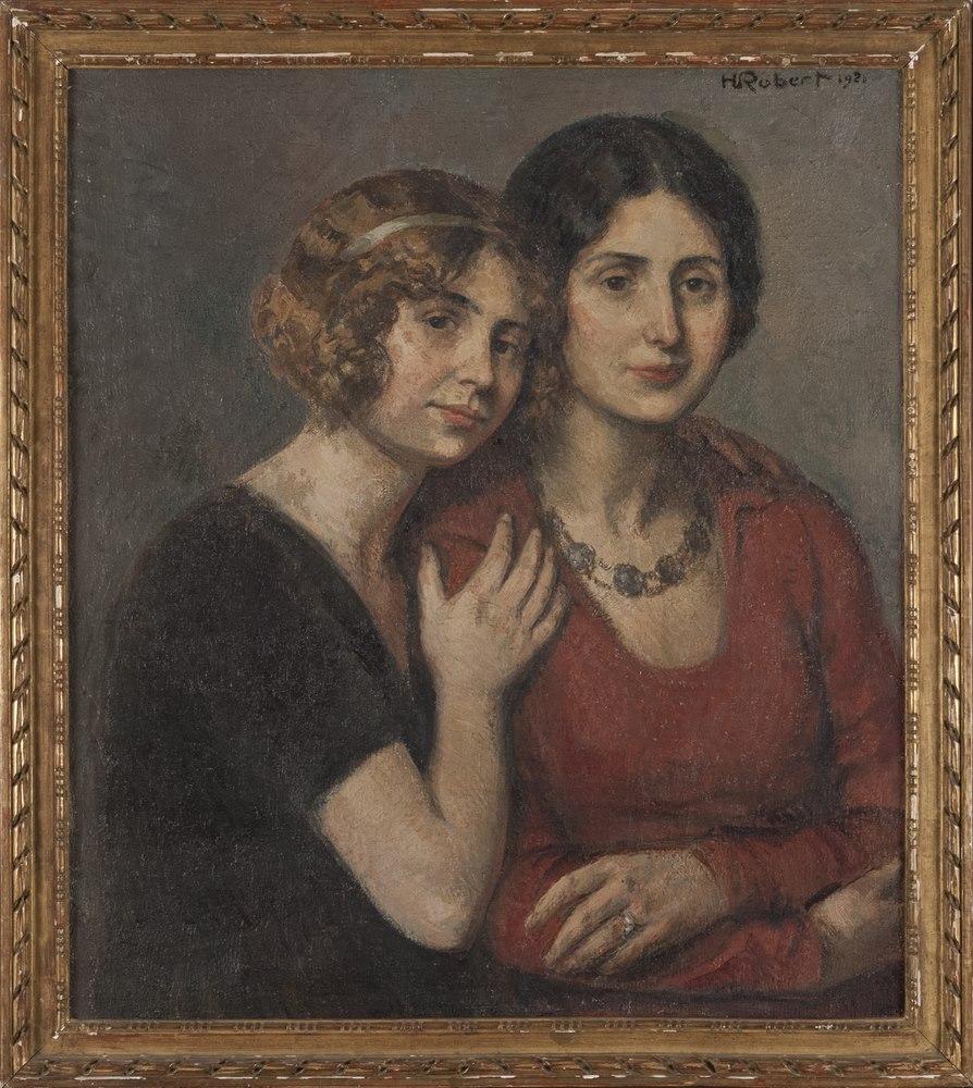 Lotto 253 - HENRI MARCEL ROBERT (Paris 1881 - Lausanne 1961)  The two sisters, 1921  Oil on canvas, cm. 70 x 60