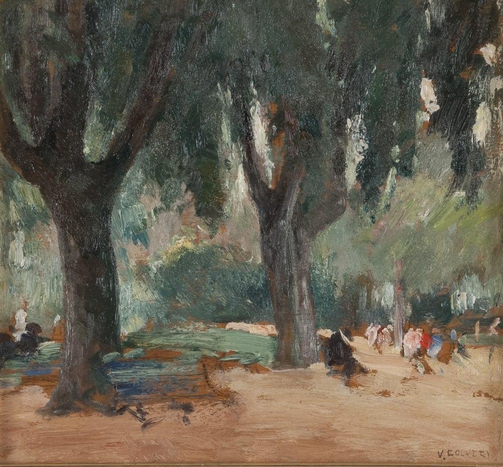 Lotto 255 - VINCENZO COLUCCI (Ischia 1898 - Lacco Ameno 1970)  Villa Borghese  Oil on panel, cm. 22 x 24