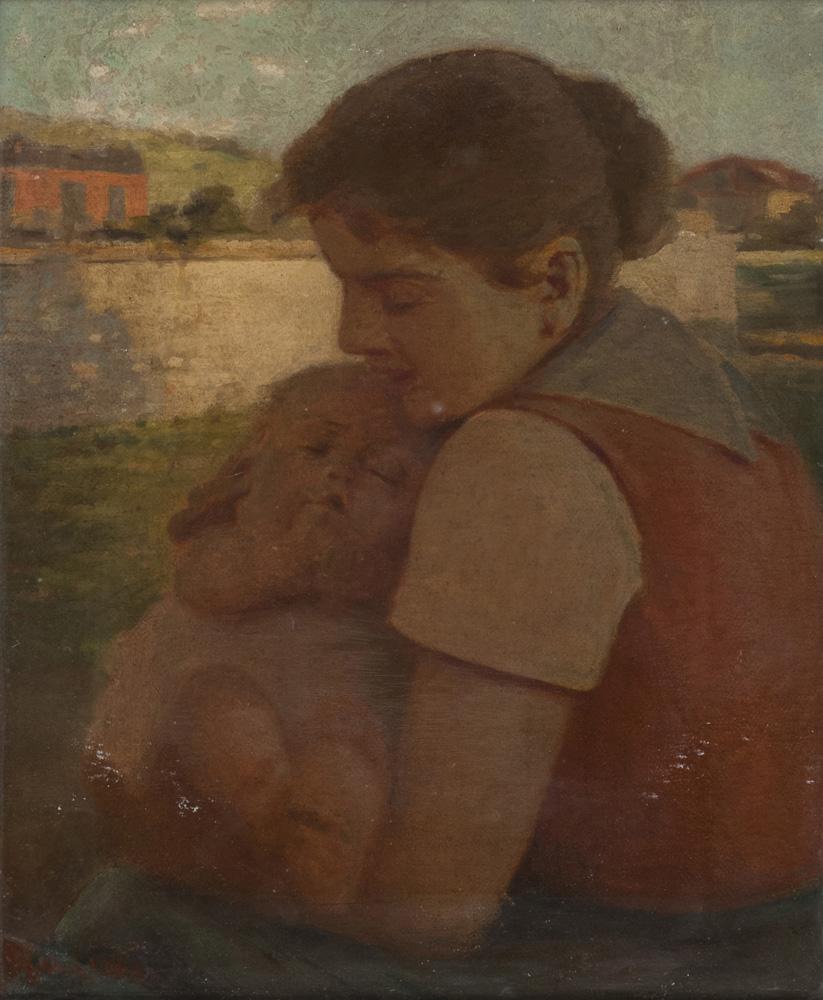 Lotto 257 - GIACOMO GAUDI (20th century)  The grandkids  Oil on panel, cm. 60 x 50  Signature on the bottom