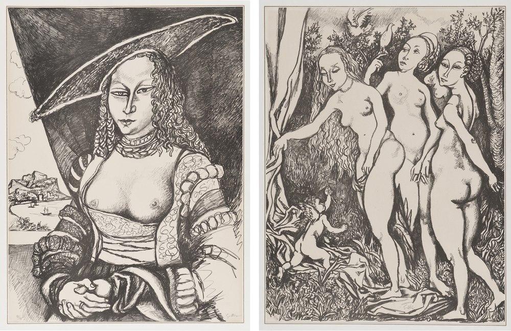 Lot 260 - RENATO GUTTUSO  (Bagheria 1912 - Rome 1987)  The Judgement of Paris  Girl in green dress  Hercules