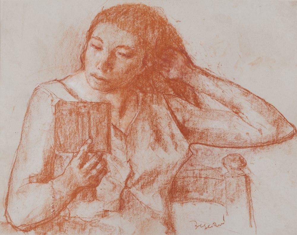 Lotto 263 - ANTONIO BRESCIANI  (Naples 1902-1998)  Young girl  reading  Sanguine on paper, cm. 37 x 47  Signed