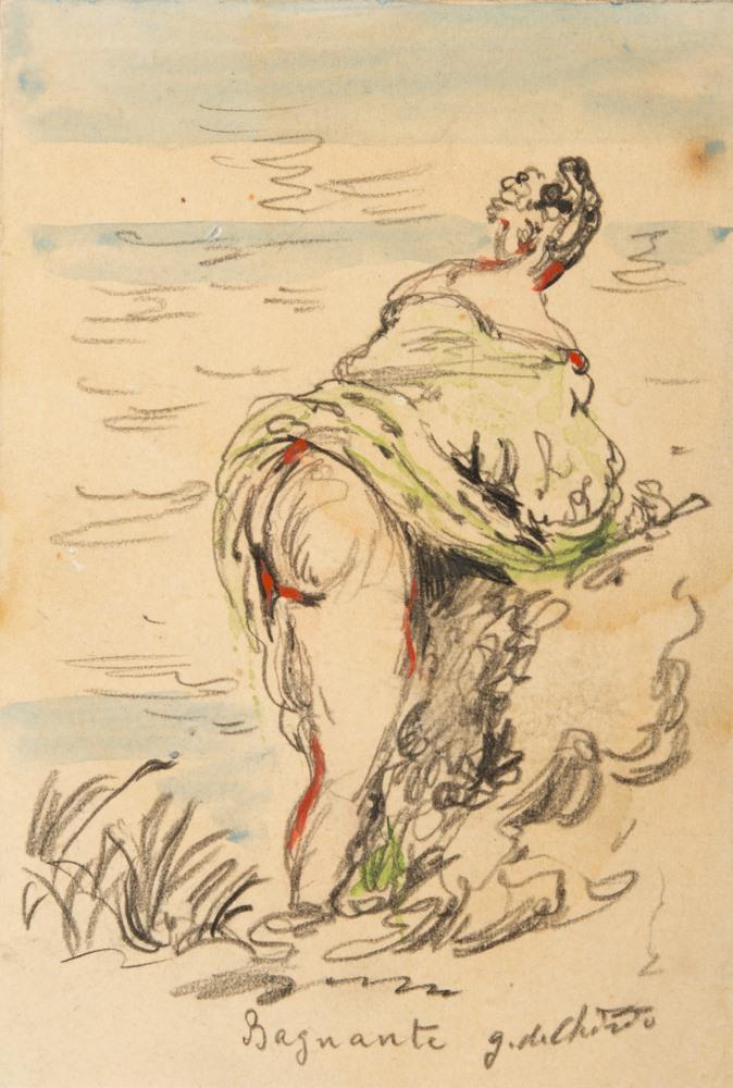 Lotto 265 - GIORGIO DE CHIRICO (Volos 1888 - Rome 1978)  Bather  Watercolor and pencil on paper mounted on