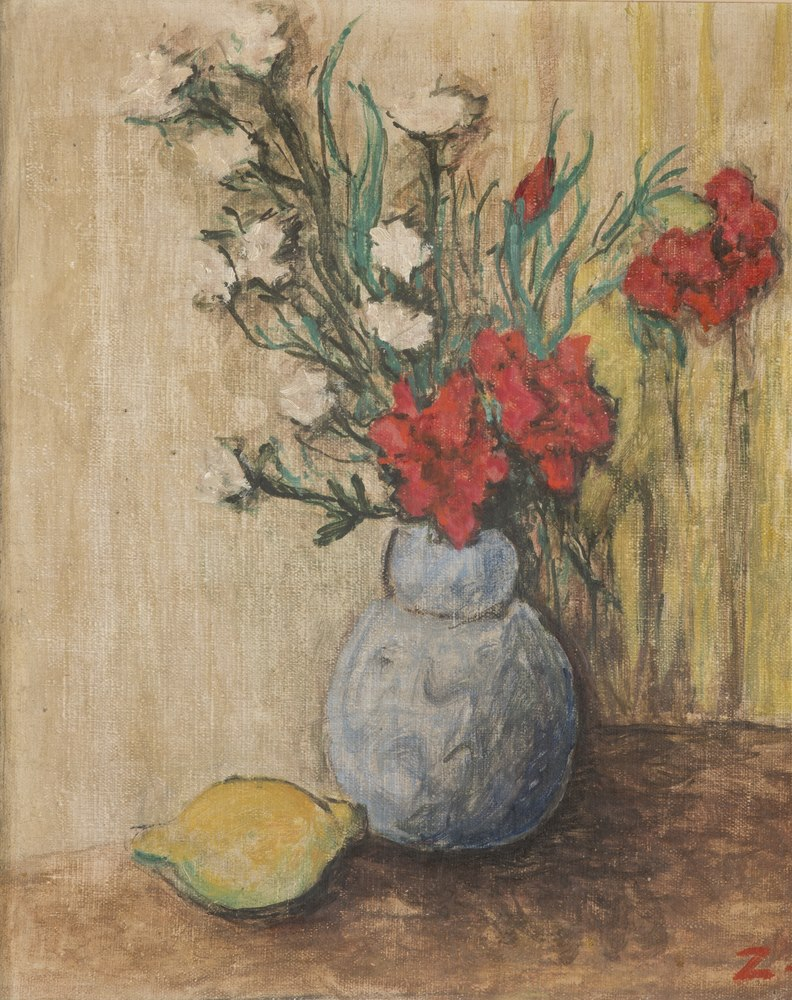 Lotto 267 - EUROPEAN PAINTER, 20TH CENTURY  Flower pot  Oil on canvas, cm. 40 x 33  Initial `Z` at the bottom