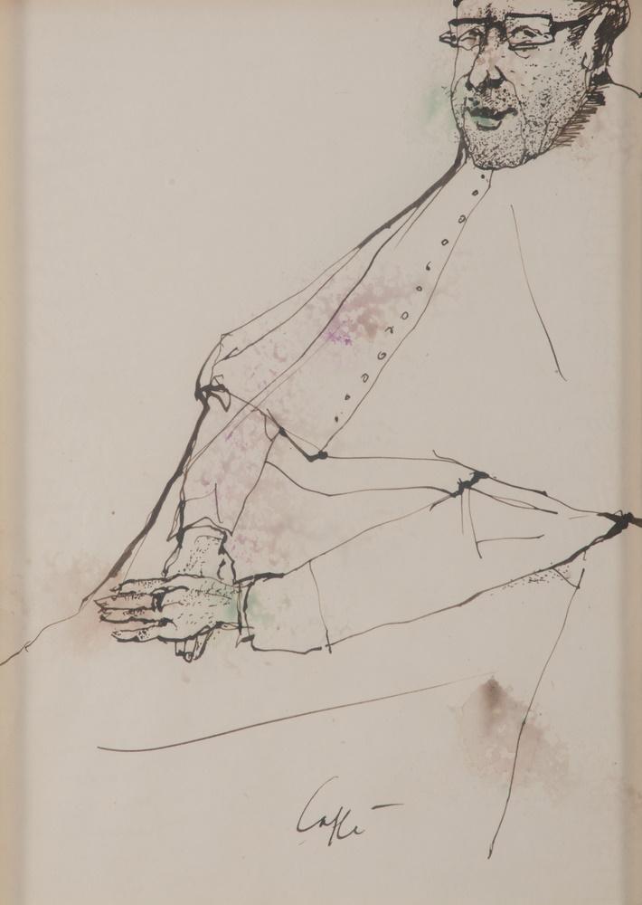 Lotto 268 - NINO CAFFÈ (Alfedena 1909 - Pesaro 1975) Prelate, ca. 1972 Mixed media on paper, cm. 33 x 23