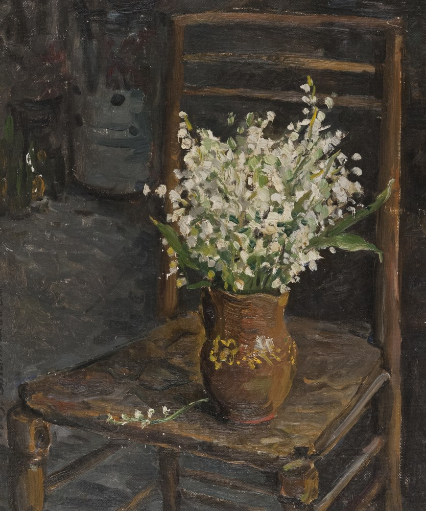 Lotto 269 - RUSSIAN PAINTER, 20TH CENTURY   Chair with flower pot  Oil on canvas, cm. 55 of 45  Signed and