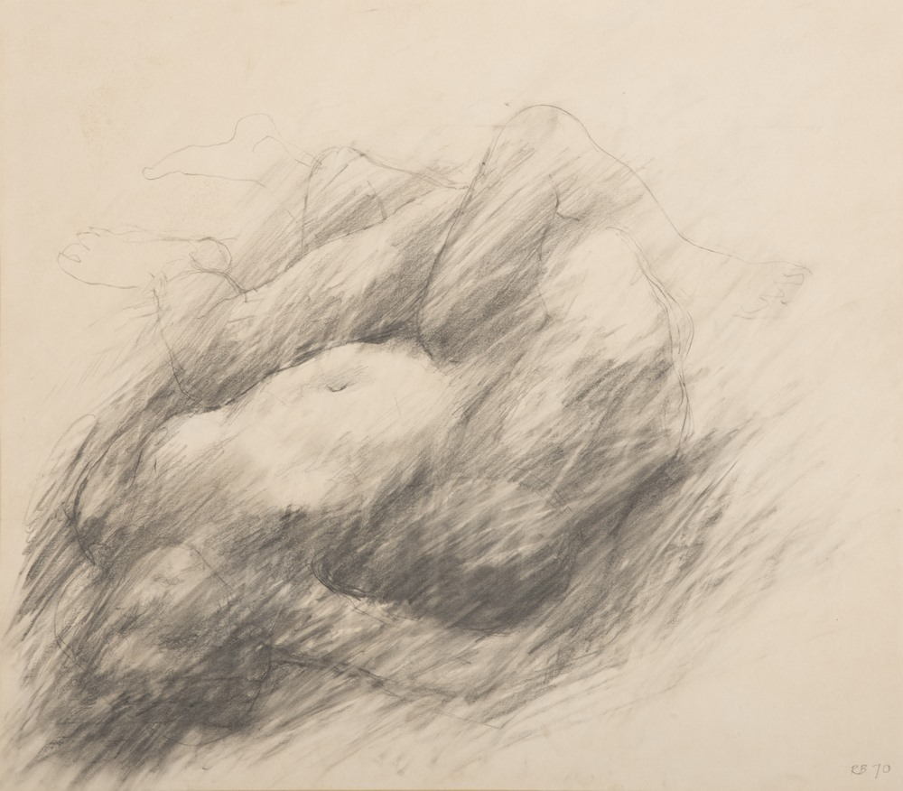 Lotto 271 - PAINTER OF THE 20TH CENTURY  Lovers, 1970  Pencil on paper, cm. 36 x 42  Initials `RB` and date