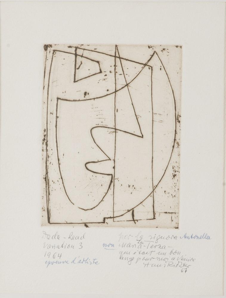 Lotto 278 - HANS RICHTER  (Berlin 1888 - Locarno, 1976)  Dada - head, Variation 3, 1964  Etching, ex. P.d.a.