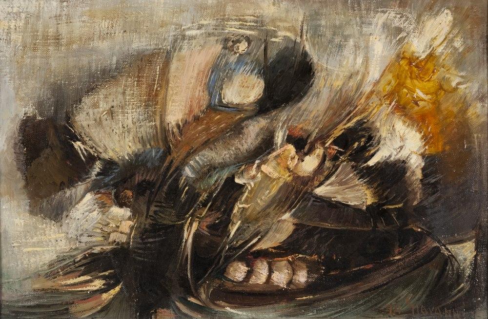 Lotto 279 - ALFREDO BOVIO DI GIOVANNI (Fontana Liri, 1907 - Naples, 1995)  Feathers and Butterflies 1965  Oil