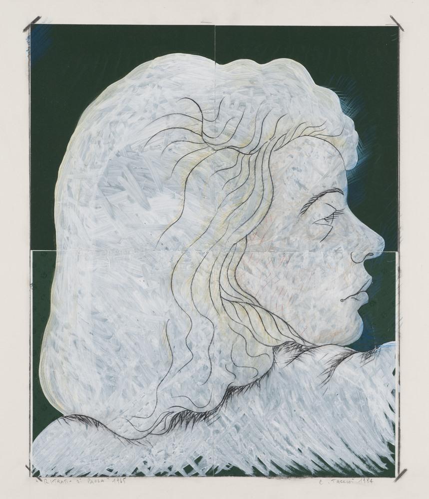 Lotto 280 - CESARE TACCHI (Rome 1940-2014)  Portrait of Paola, 1984  Tempera and collage on paper, cm. 70 x 95