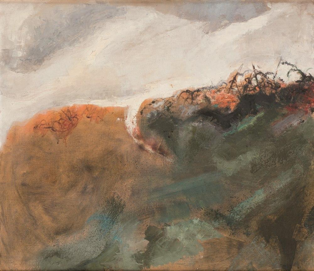 Lotto 284 - PINO REGGIANI (Forli 1937) Screws between the hedge 1961 Oil on canvas, cm. 70 x 80 Signature and