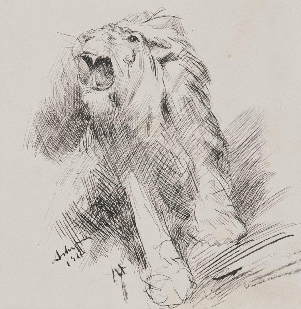 Lotto 287 - ANTONIO ASTURI  (Vico Equense 1904-1986)  Leone, 1927  Ink on paper, cm. 14 x 13  Sign and date in