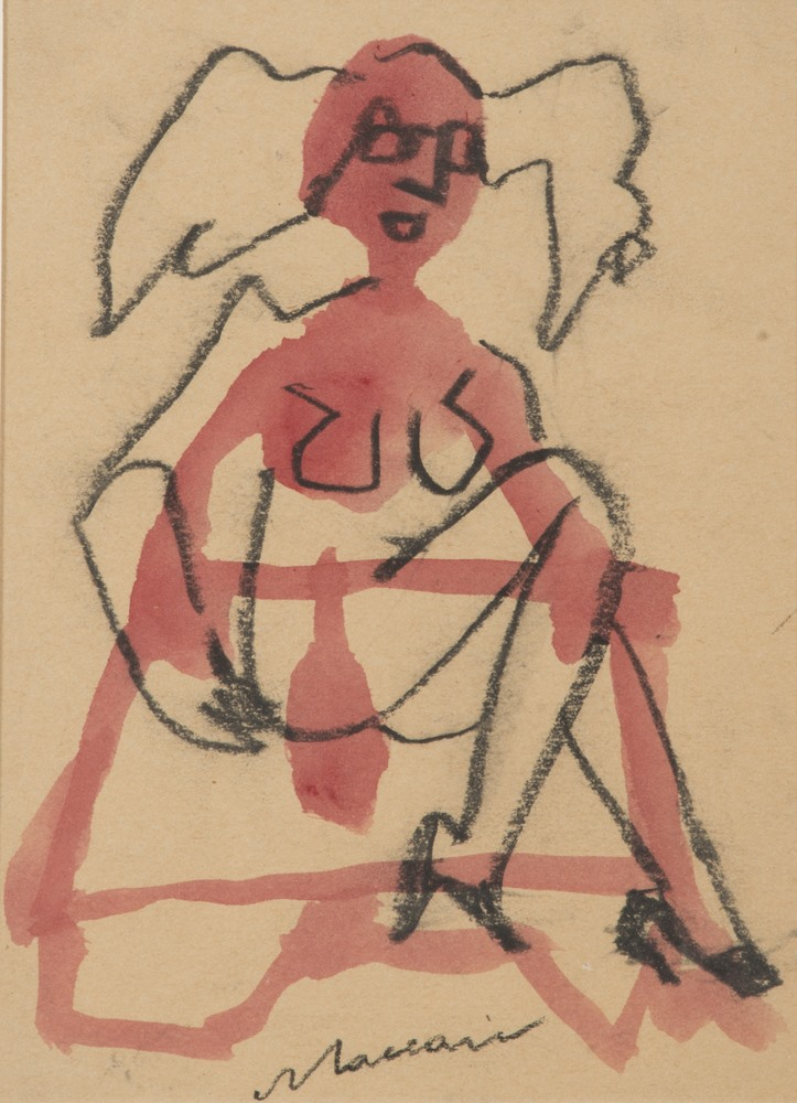 Lotto 290 - MINO MACCARI  (Siena 1899 - Rome 1989)  Naked  Mixed media on brown paper, cm. 23 x 16  Signature