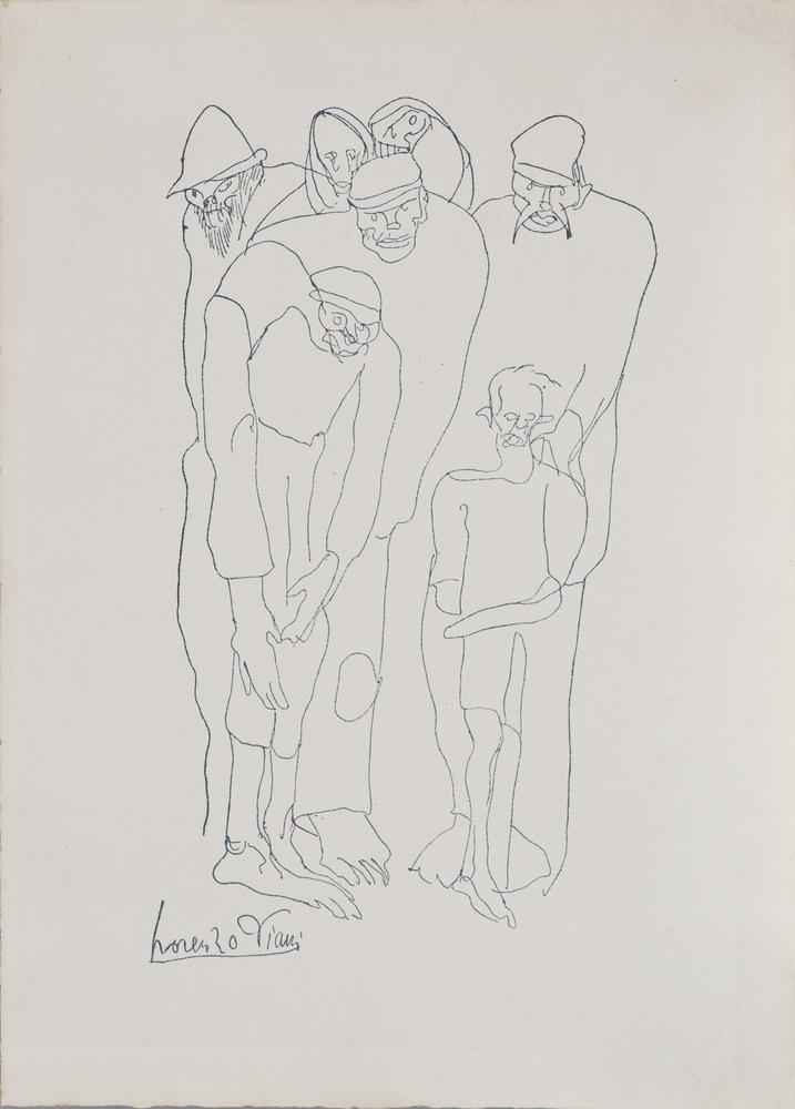 Lotto 291 - LORENZO VIANI  (Viareggio 1882 - Lido di Ostia 1936)  Figures  Ink on paper, cm. 36 x 26  Signed