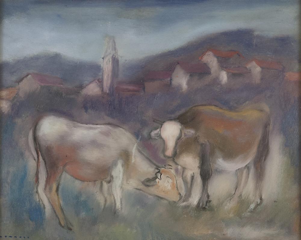 Lotto 292 - GIUSEPPE CESETTI (Tuscania 1902-1990)  Horses  Oil on canvas, cm. 40 x 50  Signature on the bottom