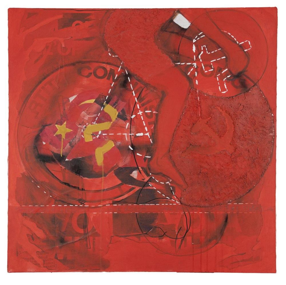 Lotto 298 - EMILIO LEOFREDDI (Rome 1958)  Anarchy is perfection, 1993  Mixed media on canvas, cm. 100 x 100