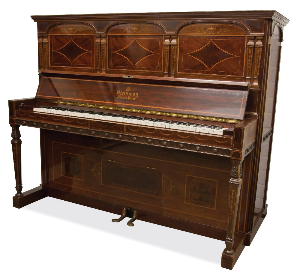 Lot 20 - Steinway (c1911)  A fine art-cased upright pianola; the mahogany case with inlaid urn, floral and