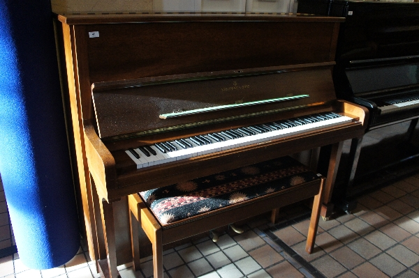 Lot 45 - Steinway (c1979)  A Model V upright piano in a bright walnut case, together with a duet stool.