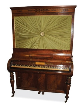 Lot 51 - John Broad and Sons (c1821) A cabinet piano in a mahogany case with ebony inlay, having a pleated