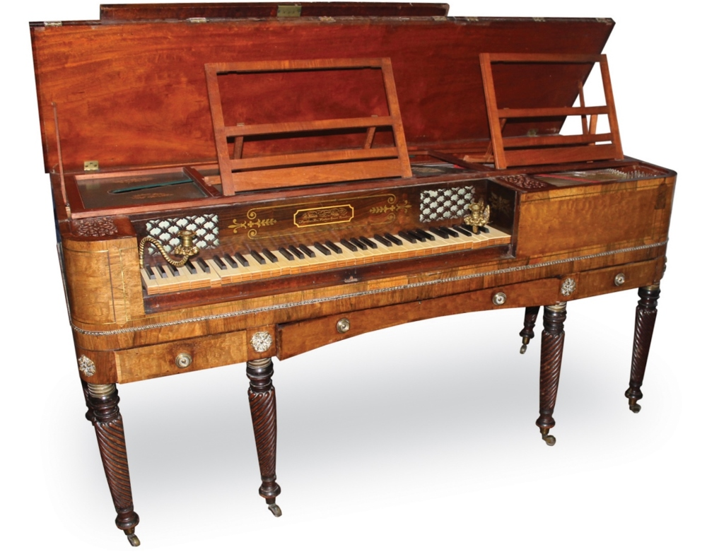 Lot 56 - James Rigg, London (c1817)  A square piano, the mahogany case cross-banded in rosewood with a