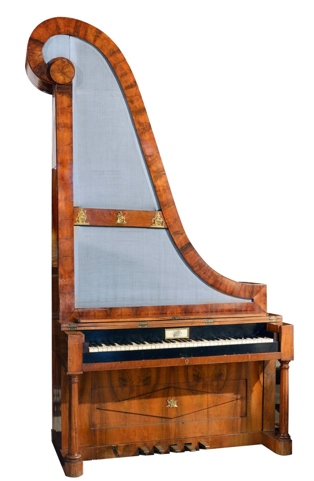 Lot 57 - Giraffe Piano, Vienna (c1825)  A rare Viennese giraffe piano in an ornate walnut case with turned