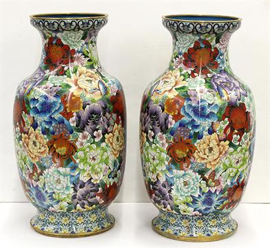 Pair Of Chinese Cloisonne Enameled Vases Of Butterflies On A Mille