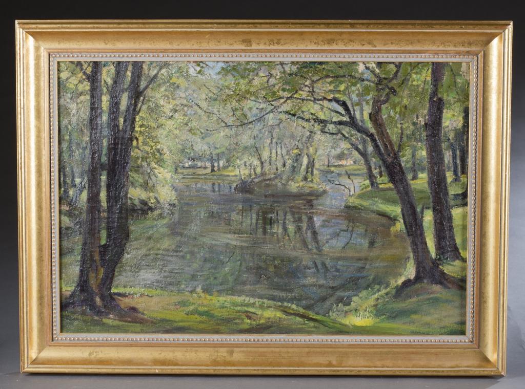 Lot 243 - Antlers, Max. (1871-1929) Die Liebesinsel, Berliner Tiergarten. c.1930. Oil on canvas. Landscape of