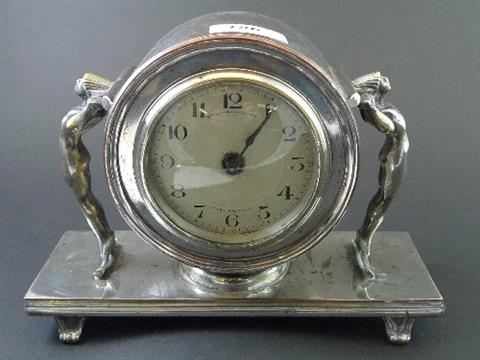 An Art Deco Silver Plated Mantel Clock The Silvered Engine Turned Dial Marked Wales Mcculloch C