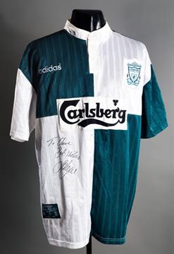 379f306e Stan Collymore: a signed green & white quartered Liverpool No.8 away ...