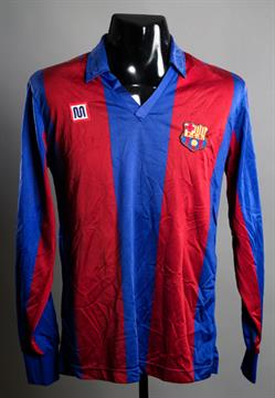 f9525ef022b Diego Maradona  a red   blue striped Barcelona No.10 jersey season ...
