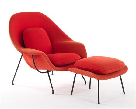 Previous  sc 1 st  The Saleroom & Knoll Saarinen Womb Chair with Ottoman in Hopsack in Red Iconic ...