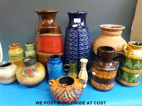 Collection Of Retro West German Pottery Vases And Ewers Including