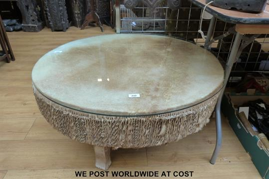 African Drum Coffee Table.A Very Large African Drum With Antelope Hide Top For Use As A