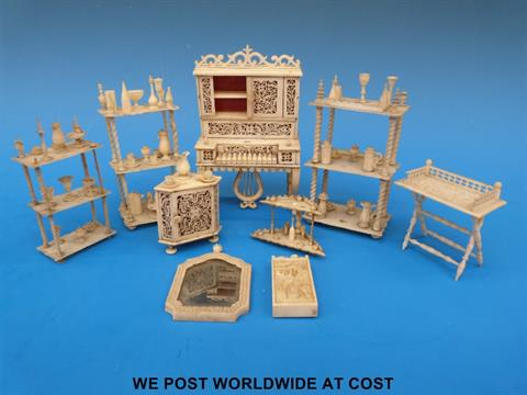 A Collection Of Napoleonic Prisoner Of War Carved Bone Dolls House Furniture Include An Exception