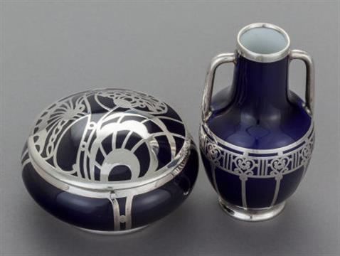 A German Cobalt Blue Porcelain And Silver Overlay Bud Vase With A