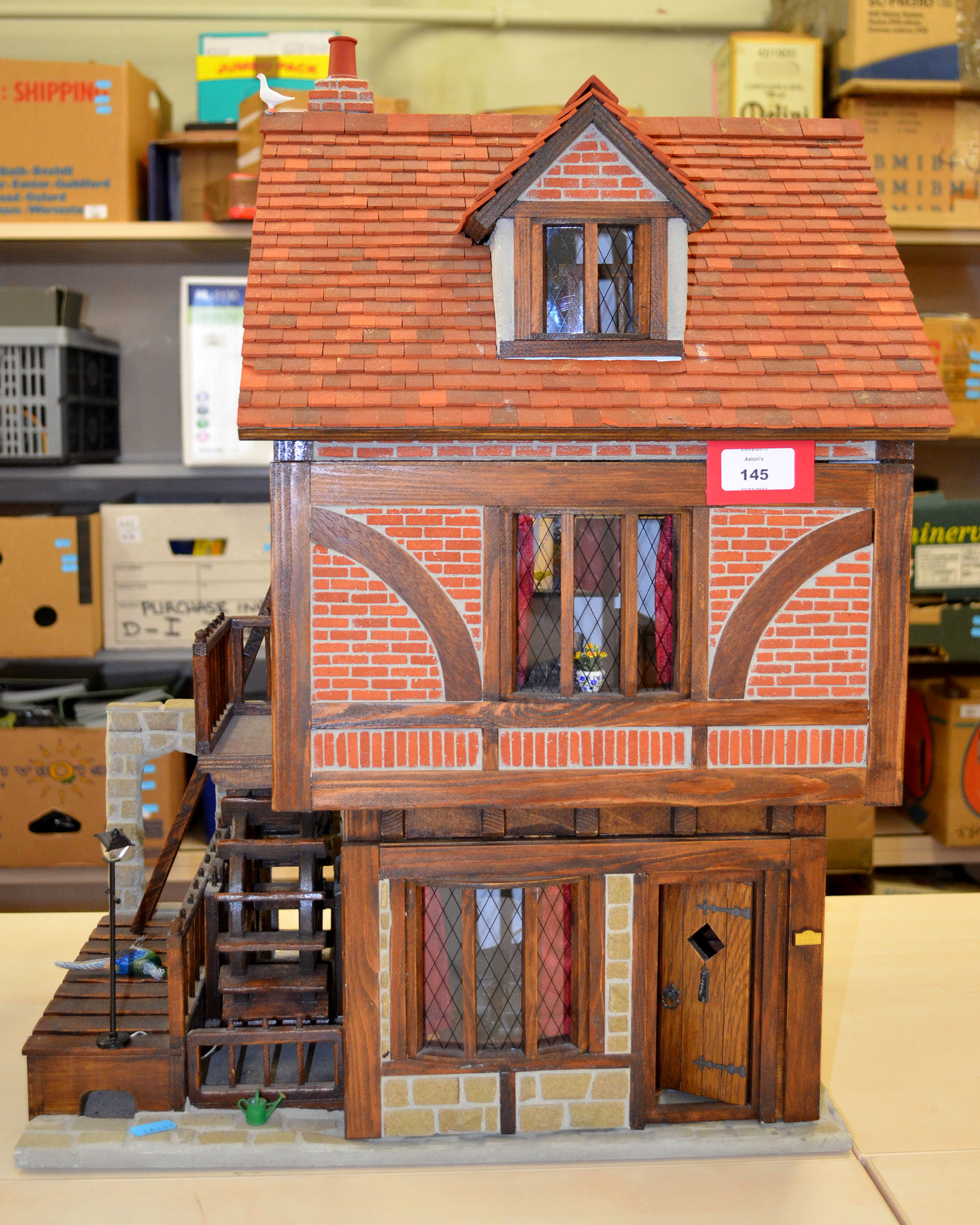 Dolls House Water Mill Building With Electrical Wiring And Hinged Dollhouse Lotto 145 Front