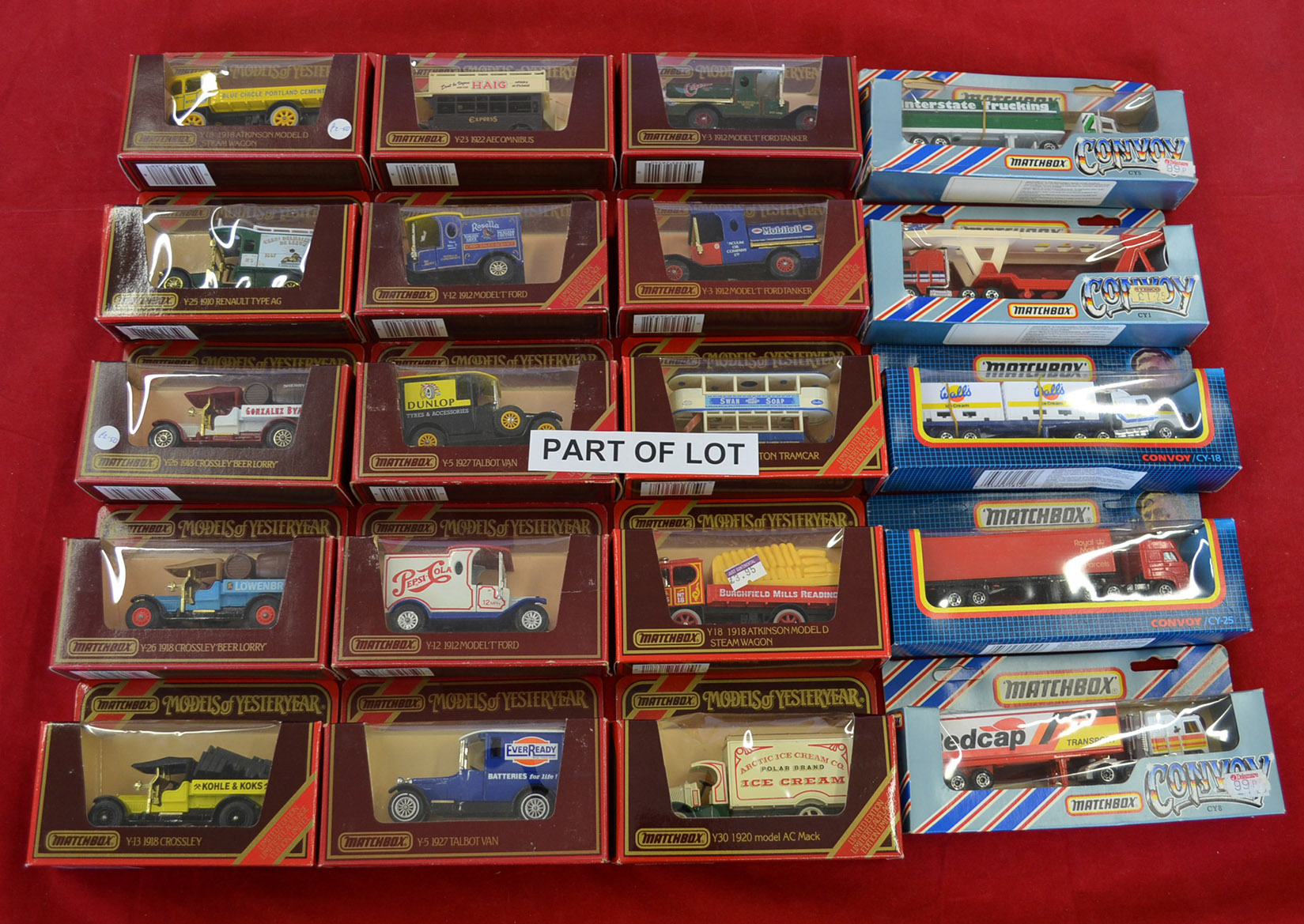 Matchbox Models of Yesteryear framed cabinet containing Y8 5 1