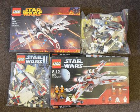 Two Lego Star Wars Sets 7259 Arc 170 Starfighter 6212 X Wing