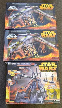 Three Hasbro Star Wars Revenge Of The Sith Boxed Toys Two Republic Gunship Mustafar Final Duel