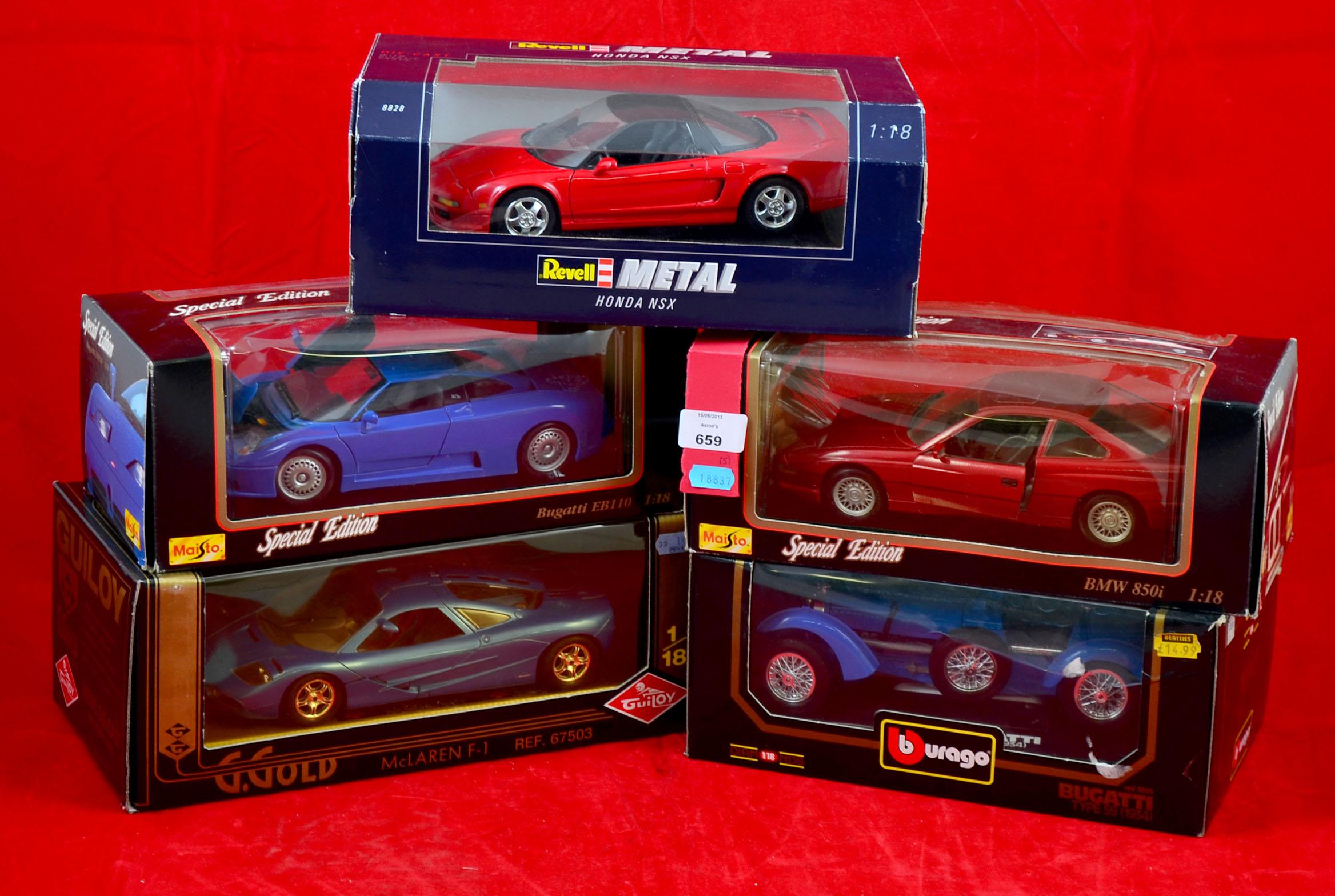 Five 1 18 Scale Die Cast Model Cars Revell 8828 Honda Nsx Maisto