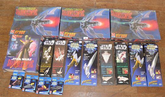 Quantity of Star Wars model kits: three sealed AMT 8377 Shadows of