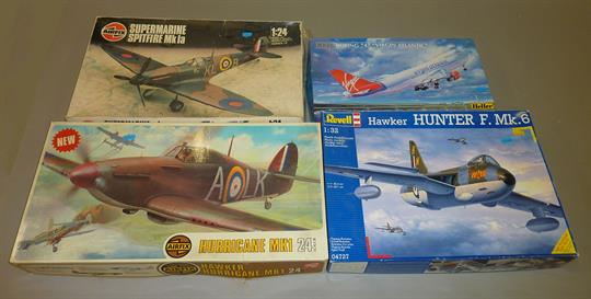 Four large scale model aircraft kits: consists of Airfix 1:24 Hawker