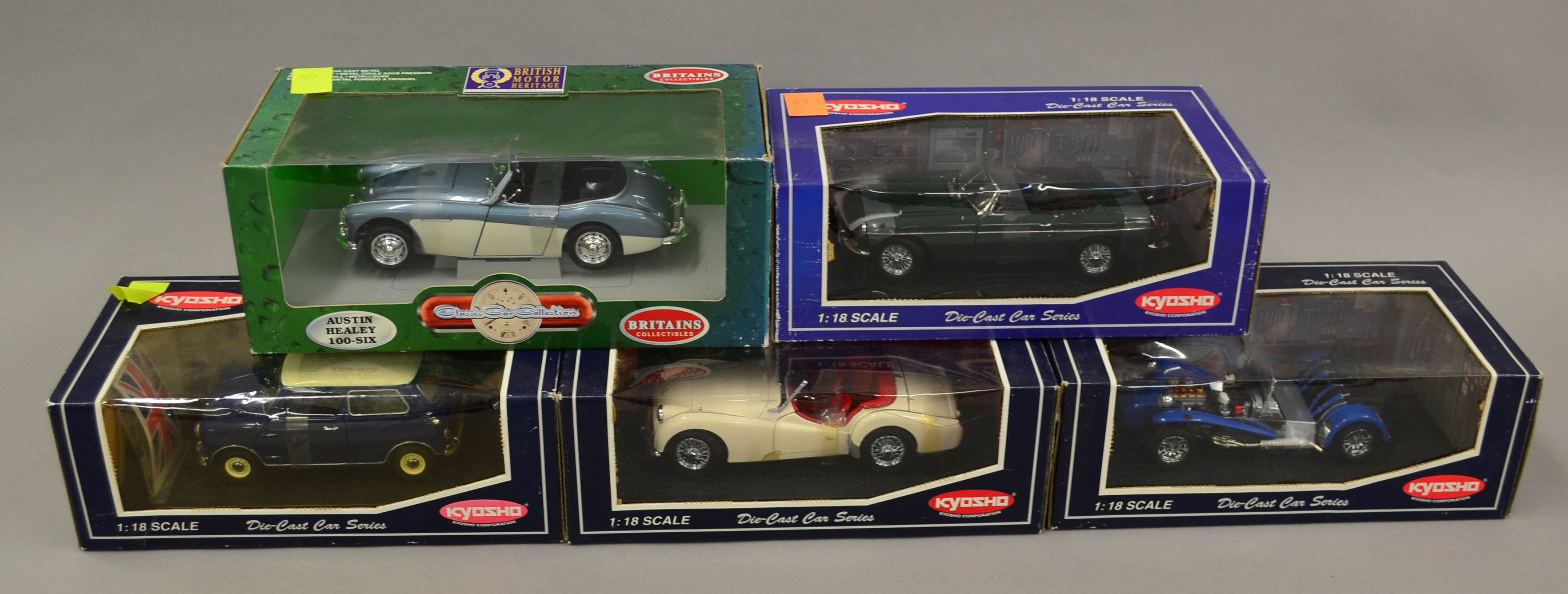 Five 1 18 Scale Die Cast Model Cars Ertl Britains Austin Healey