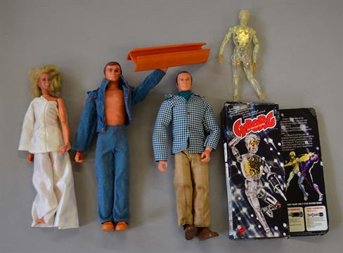 Three Denys Fisher 1970s Action Figures Cyborg Figure With G Box Six Million Dollar Man Steve A