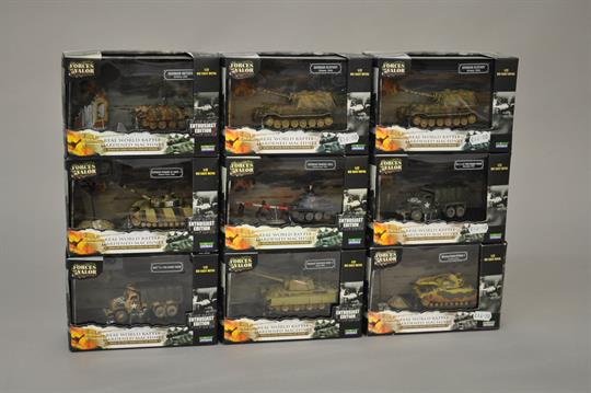 Nine Unimax Forces of Valor 1:72 scale diecast military models  All