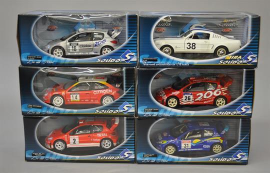 Six Solido 1:18 scale diecast model racing cars: Peugeot 206 WRC ...